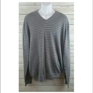 Aeropostale Gray Striped V Neck Sweater sz Large